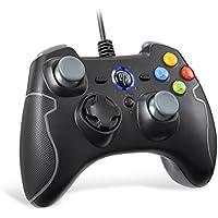 【ps3 コントローラー】EasySMX 有線PCゲームコントローラー 連射・振動機能搭載 USBゲームパッド Windows/Android/PS3/TV Boxに対応可能 (ブラック+グレー)