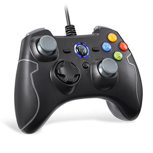 EasySMX有線ゲームコントローラー 連射・振動機能搭載 USBゲームパッド Windows/ Android/ PS3/ TV Boxに対応可能 (ブラック+グレー)