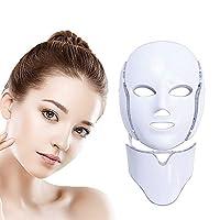 プレミアムライトセラピーマスク、LEDフェイスマスク7カラーライトセラピーマスクコラーゲン、アンチエイジング、引き締め、瘢痕、美白LEDフェイスマスク(ネックマスク付き)