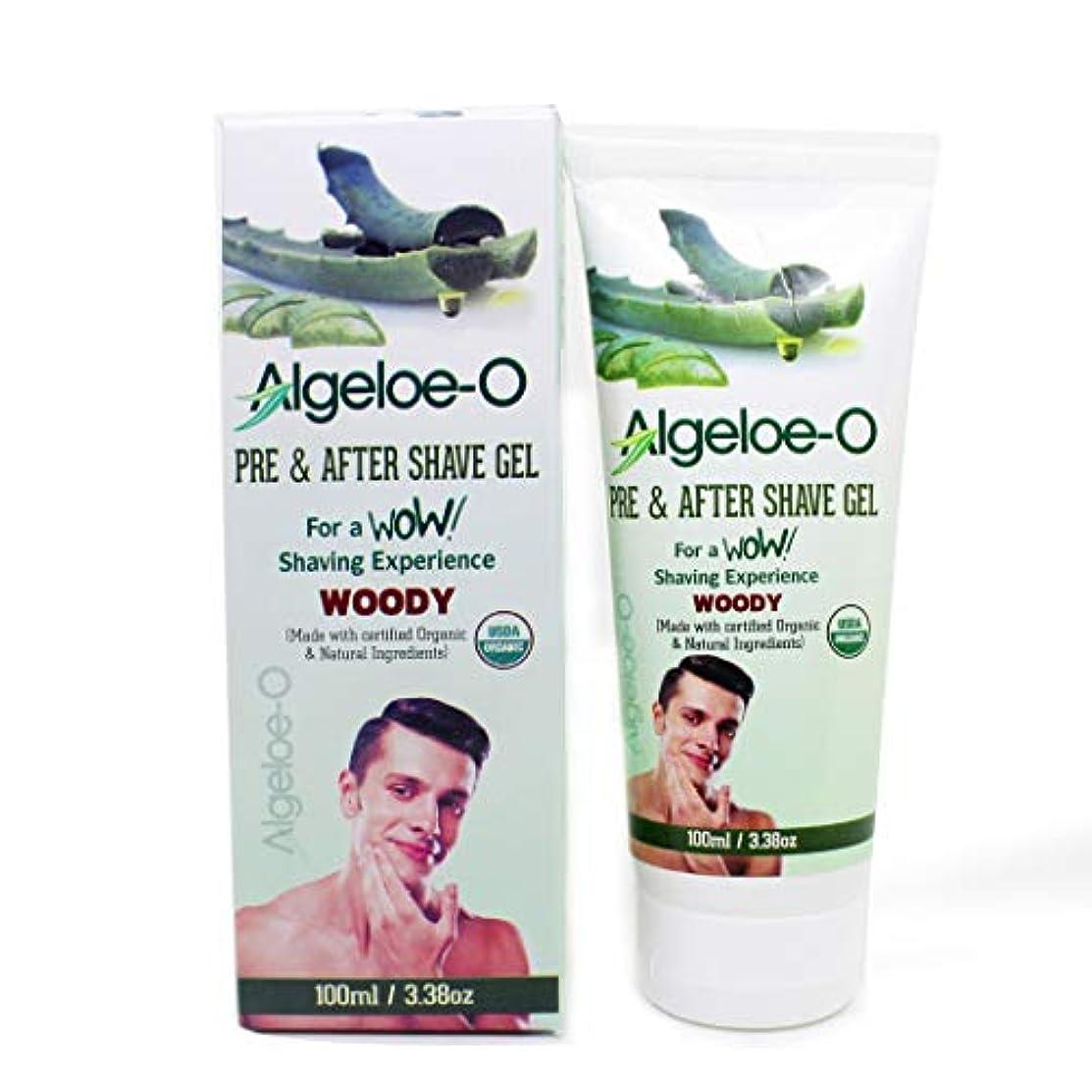 巻き取り鏡曲げるAloevera Pre And After Shave Gel - Algeloe O Made With Certified USDA Organic And Natural Ingredients - Woody...