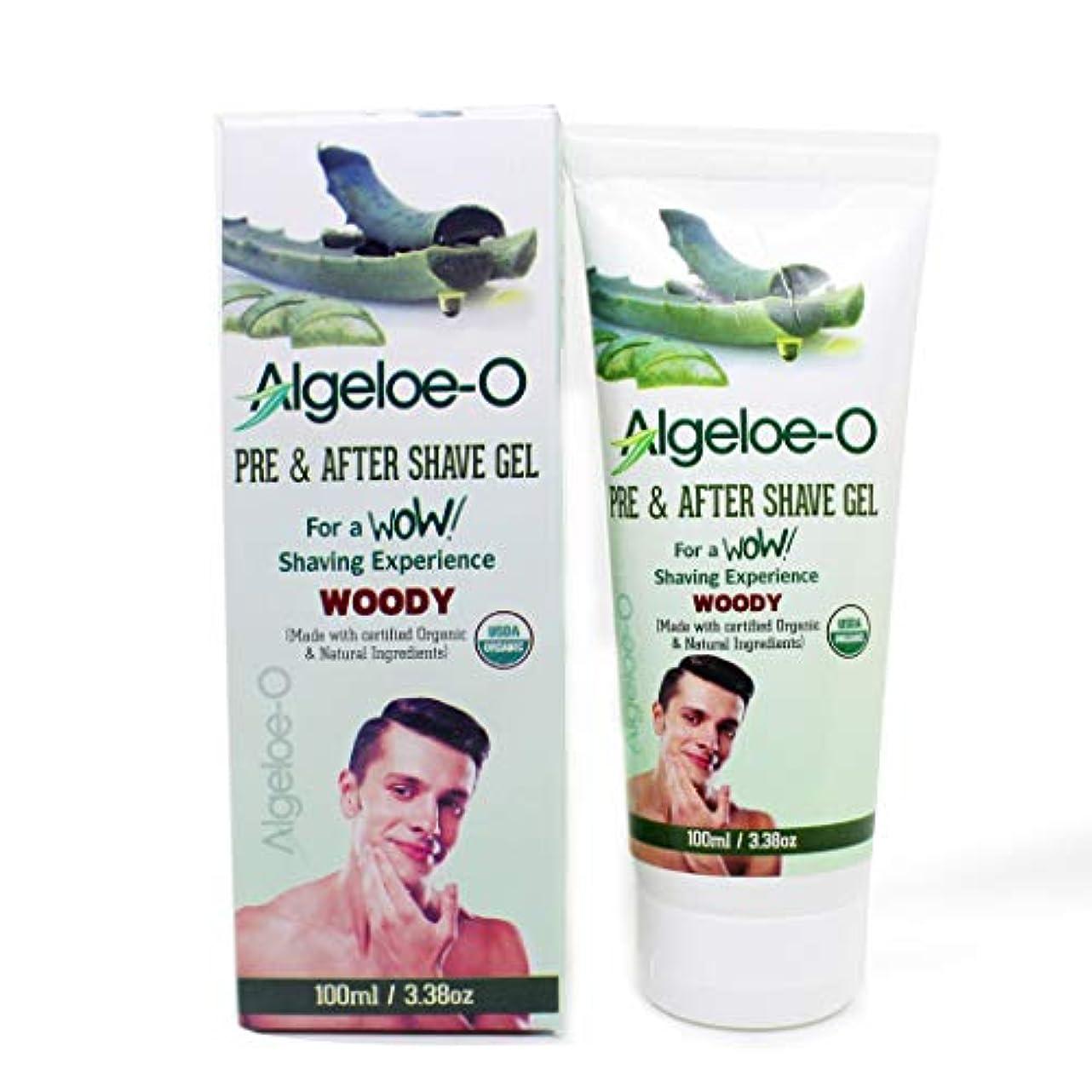 弾丸文芸良心的Aloevera Pre And After Shave Gel - Algeloe O Made With Certified USDA Organic And Natural Ingredients - Woody 100 ml (3.38 Oz.)
