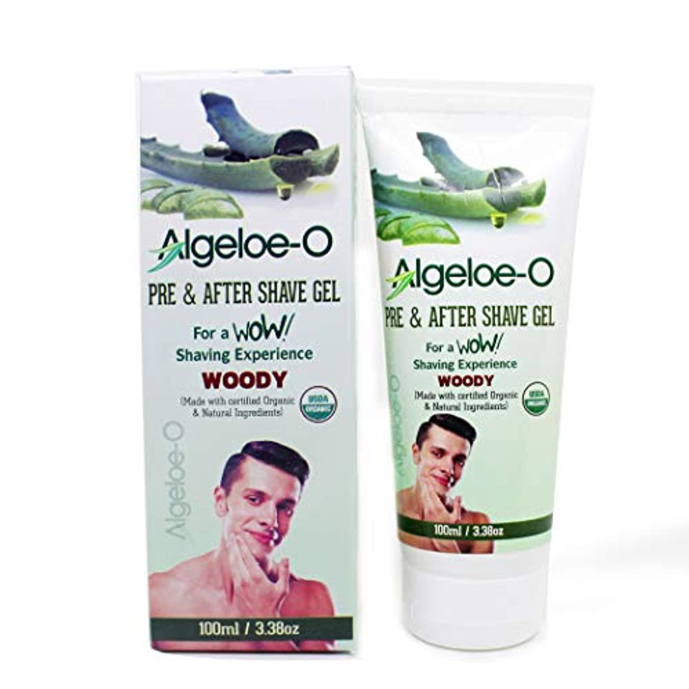 布聖域リネンAloevera Pre And After Shave Gel - Algeloe O Made With Certified USDA Organic And Natural Ingredients - Woody...