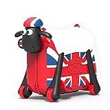 PUQU ひつじのショーン乗って遊べるスーツケース こども用 乗用玩具 キッズ バッグ 旅行 かばん 乗れるキャリーバッグ カラフルバッグ 機内持ち込み可 (イングランド)