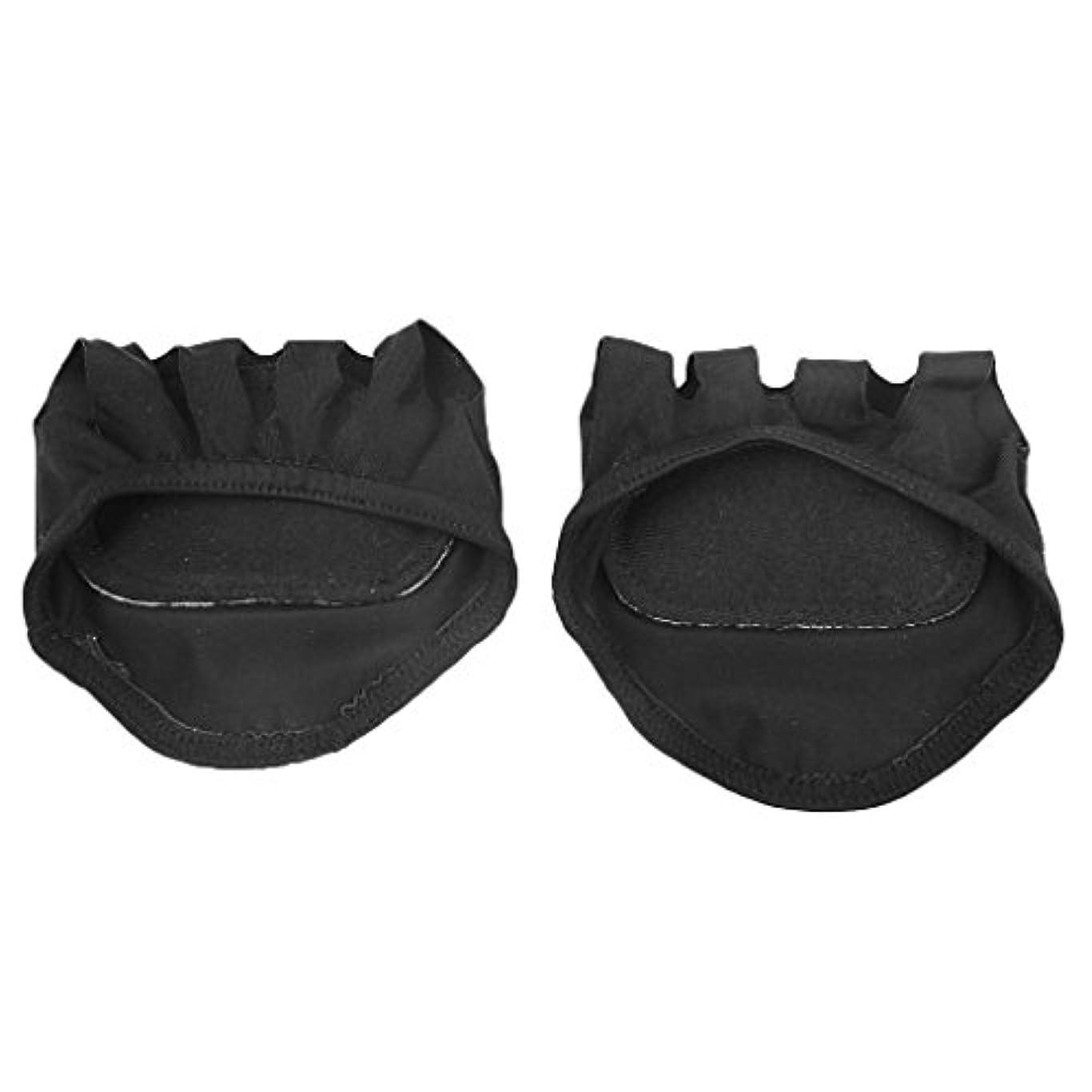 鋭く奇妙な興味【Footful】ソックス 靴下 マッサージクッション 見えない 滑り止め 5つま先前足 ソックス (ブラック)