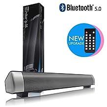 Bluetooth 5.0 Soundbar Speaker for TV, Wireless Stereo Speakers Dual Speakers, Bluetooth / 3.5 Mm Audio/TF Card/USB-DAC Multi-Player Mode