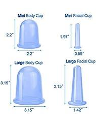 マッサージカップ シリコーン 抗セルライトカッピング セラピーボディ&フェイシャルマッサージ用 バキューム マッサージカップセット セルライト治療、 中国式カッピングキット 1セット(4PCS)