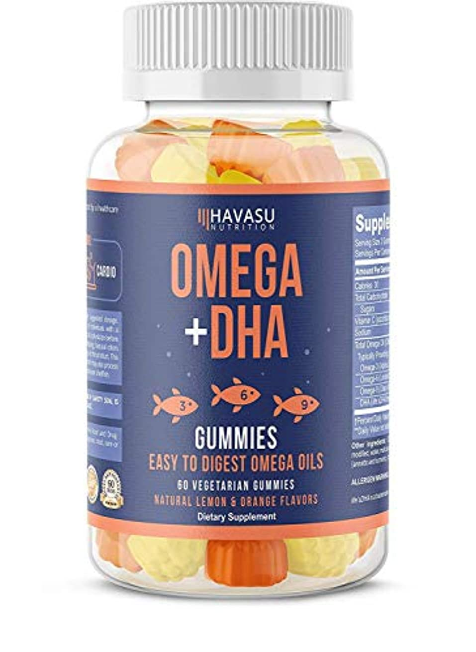 比類なき作物不倫Havasu Nutrition Omega + DHA Gummies 60 Vegetable Gummies