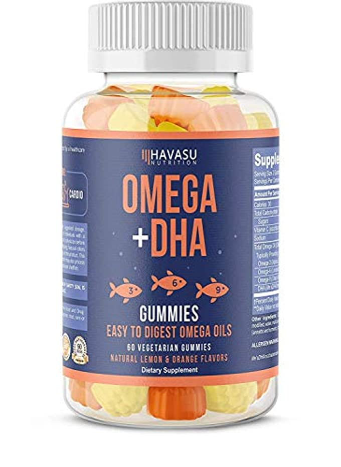 スリットレイ定規Havasu Nutrition Omega + DHA Gummies 60 Vegetable Gummies