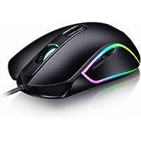 AhaSky ゲーミングマウス ゲームマウス 有線 マウス レイザー マウス  RGBバックライト 6ボタン 4800 DPI FPSゲーム向け 左右対称 プロ用ゲーマー PC デスクトップ ラップトップ適用 (ブラック)