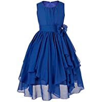 iEFiEL Kids Big Girl Asymmetric Ruffles Flower Girl Dresses Outdoor Wedding Bridesmaid Chiffon Dress