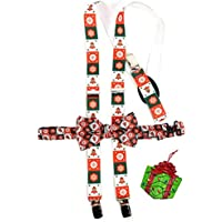 Boys Multicolored Christmas Holiday Bow Tie & Suspenders Set and Tree Ornament