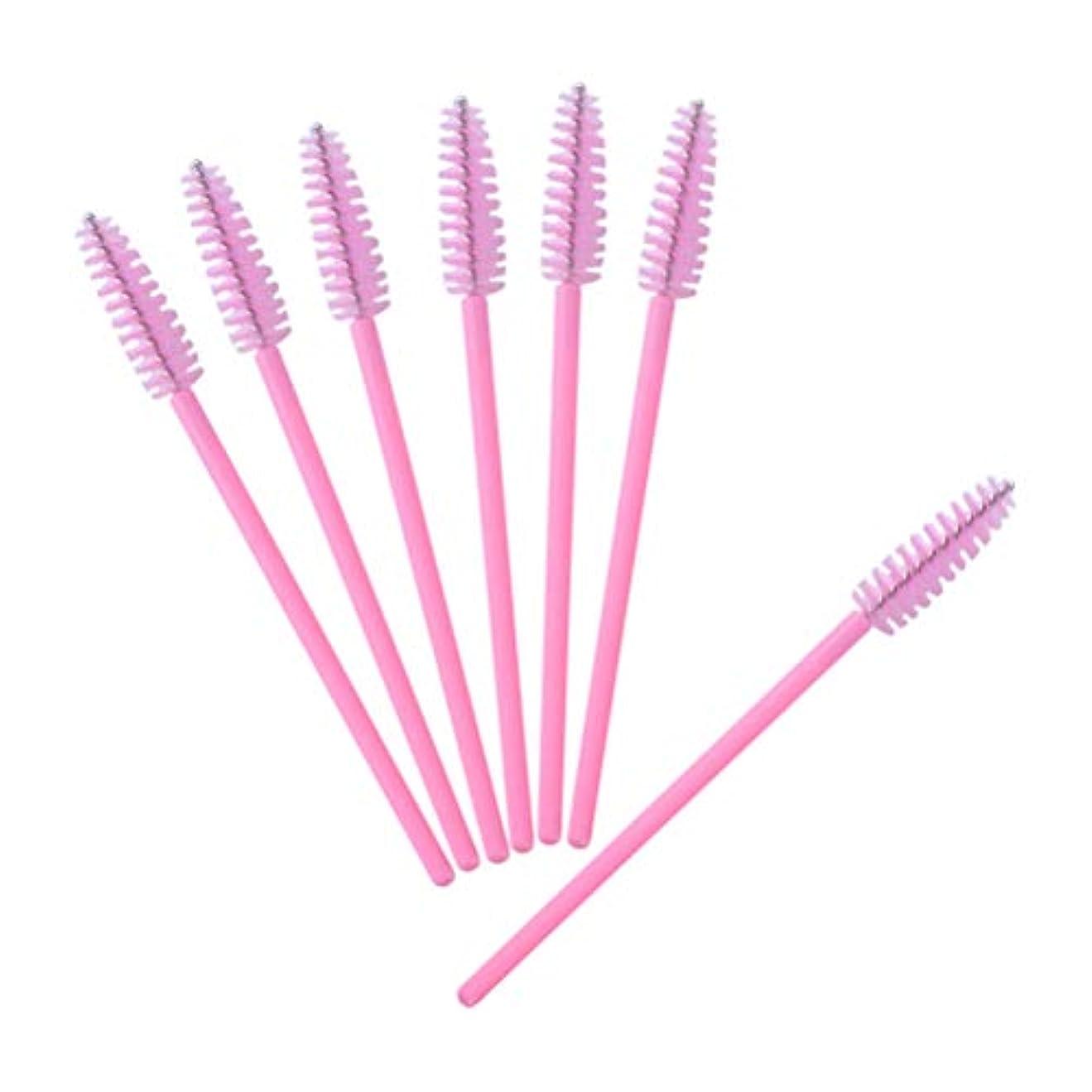 NUOLUX 使い捨て まつげブラシ 眉ブラシ スクリューブラシ マスカラブラシ 多用途 まつげコーム メイクアップブラシ 50本セット(ピンク)