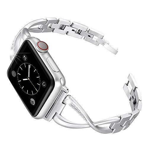 AIGENIU コンパチブル アップルウォッチ バンド、華奢な感じのステンレス レディース バンドCompatible Apple Watch バンド 38mm 40mm 42mm 44mm iwatch Series 4/3/2/1に対応 (38/40mm, シルバー)
