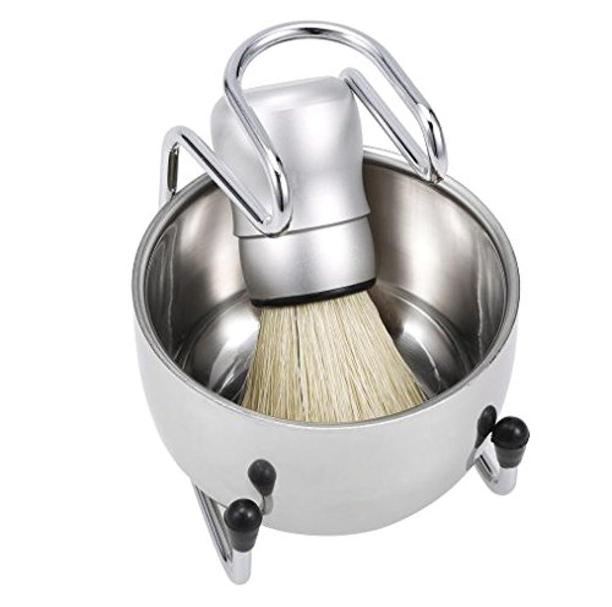 座る真向こう準備する3 in 1 Men's Shaving Tools Set Well Polished Shaving Brush Soap Bowl Stand Holder Badger Hair Male Face Cleaning