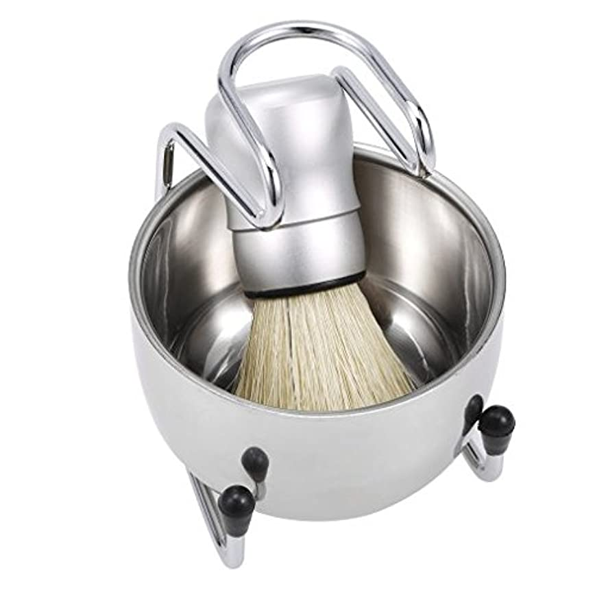 アクセスできないアコード青写真3 in 1 Men's Shaving Tools Set Well Polished Shaving Brush Soap Bowl Stand Holder Badger Hair Male Face Cleaning