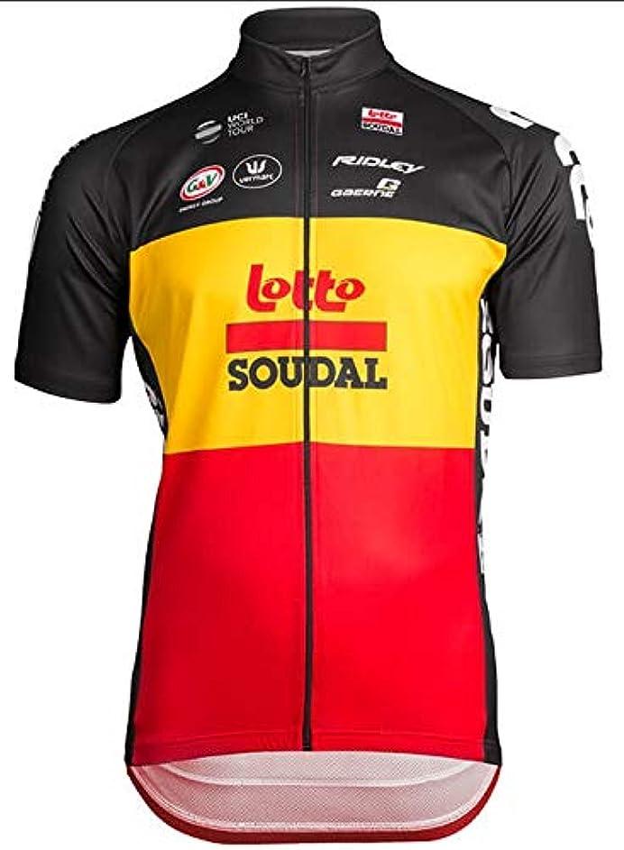 謝罪する正当なメンテナンス自転車ウェア 2019 Lotto Soudal 半袖ジャージ XLサイズ ベルギーナショナルチャンピオン ESL