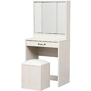 ドレッサー 化粧台 三面鏡 スツール付き 幅60.0×奥行41.0×高さ130cm ホワイト 97433