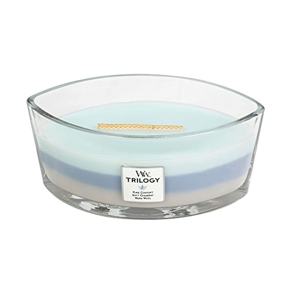 平日チェリー勤勉なWoodWick Trilogy WOVEN COMFORTS, 3-in-1 Highly Scented Candle, Ellipse Glass Jar with Original HearthWick Flame...