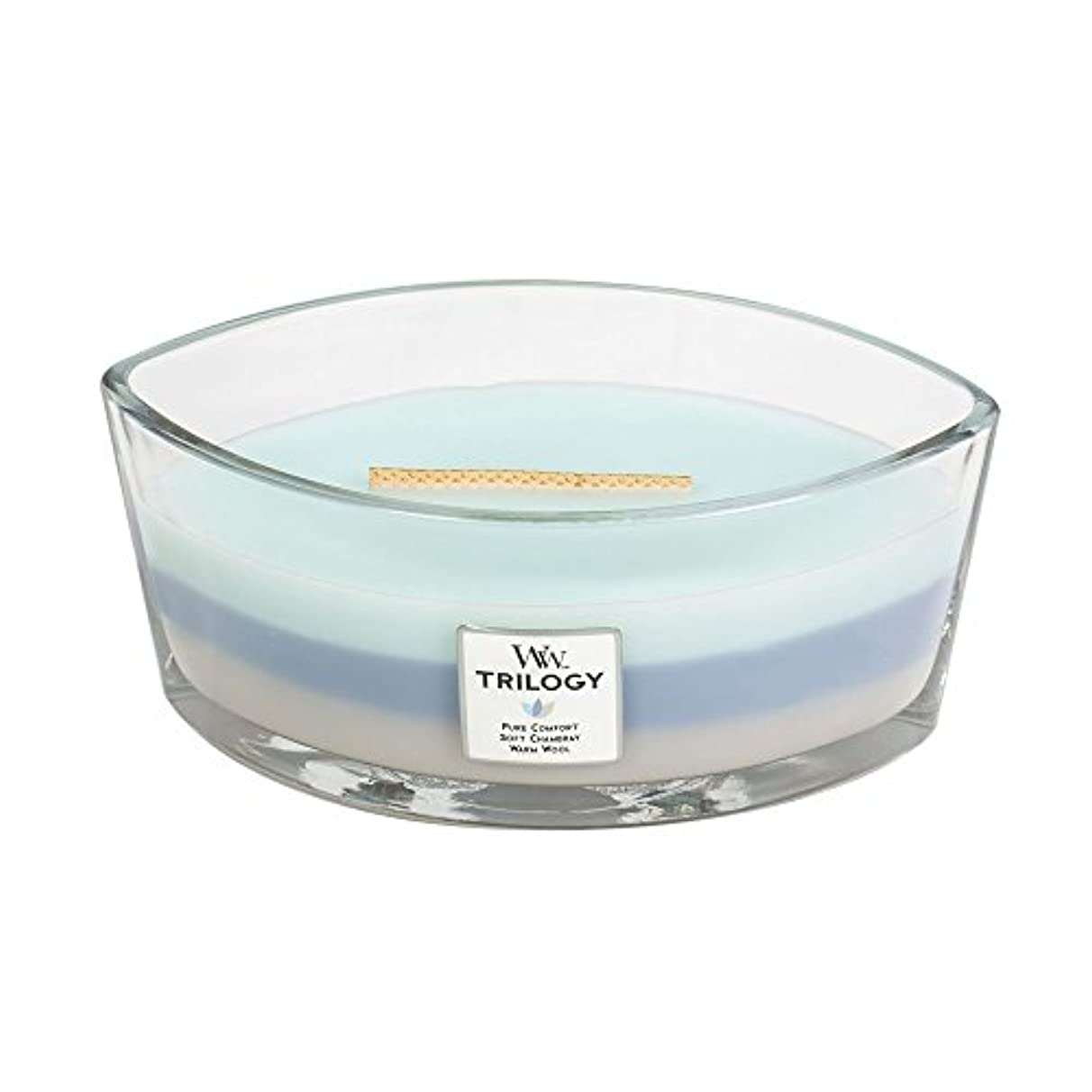 WoodWick Trilogy WOVEN COMFORTS, 3-in-1 Highly Scented Candle, Ellipse Glass Jar with Original HearthWick Flame...