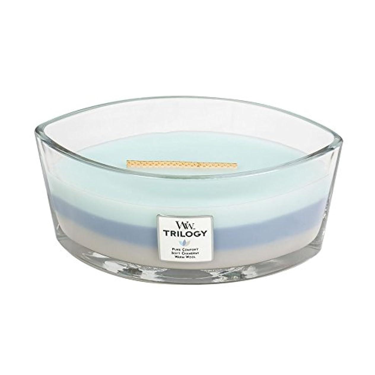 ブロッサム日没軽蔑するWoodWick Trilogy WOVEN COMFORTS, 3-in-1 Highly Scented Candle, Ellipse Glass Jar with Original HearthWick Flame...