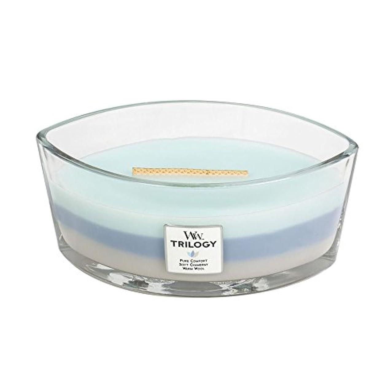 筋エコー油WoodWick Trilogy WOVEN COMFORTS, 3-in-1 Highly Scented Candle, Ellipse Glass Jar with Original HearthWick Flame...