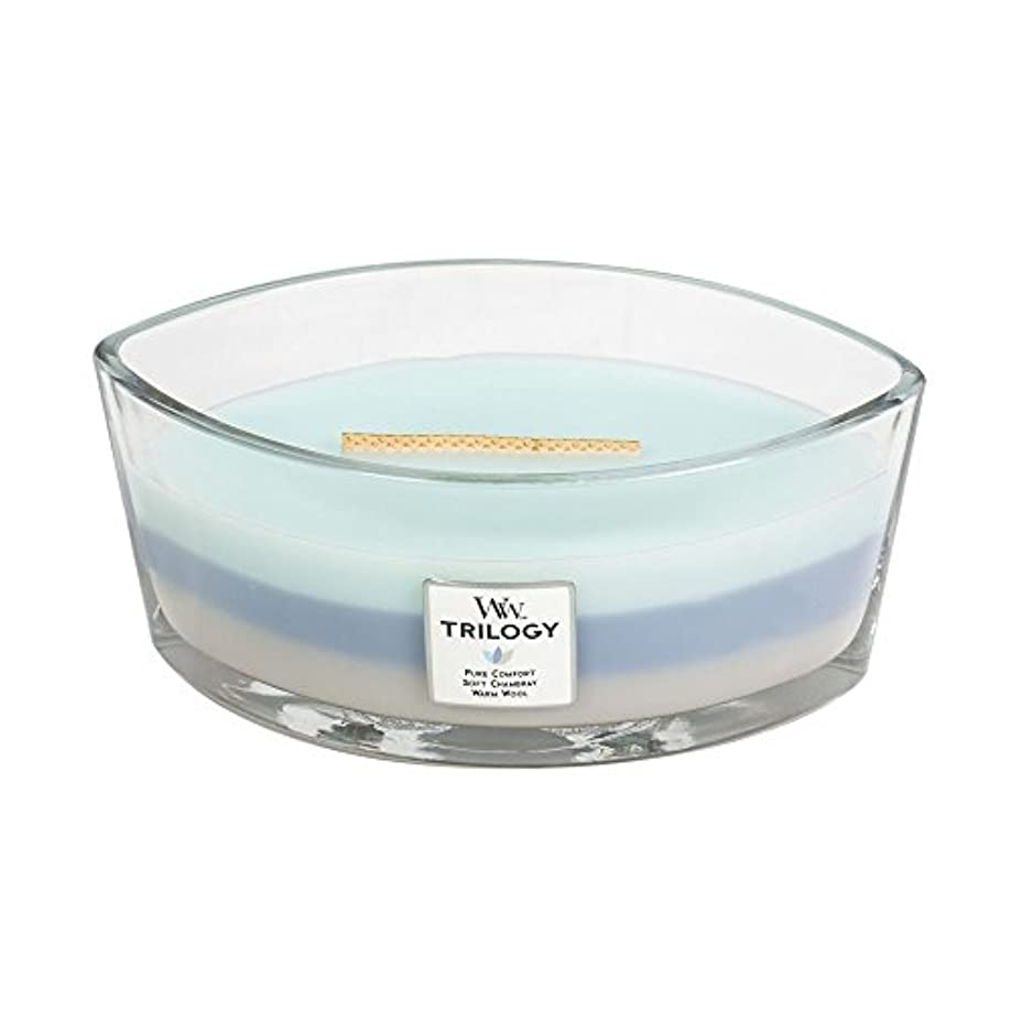 教育流暢隙間WoodWick Trilogy WOVEN COMFORTS, 3-in-1 Highly Scented Candle, Ellipse Glass Jar with Original HearthWick Flame...