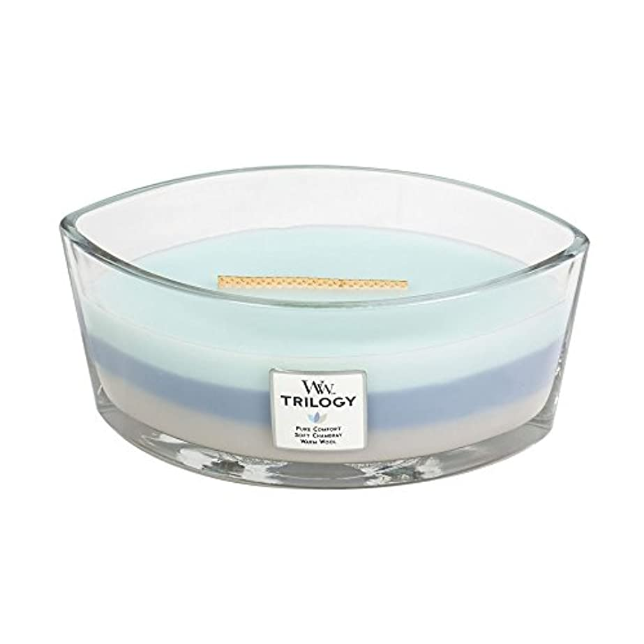 スリップ池艦隊WoodWick Trilogy WOVEN COMFORTS, 3-in-1 Highly Scented Candle, Ellipse Glass Jar with Original HearthWick Flame...
