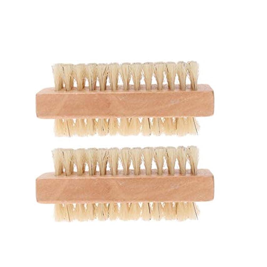 通常桃リストLurrose 2ピースネイルブラシ両面ポータブル耐久性マニキュアブラシネイルクリーニングブラシ毛ブラシホームサロン用