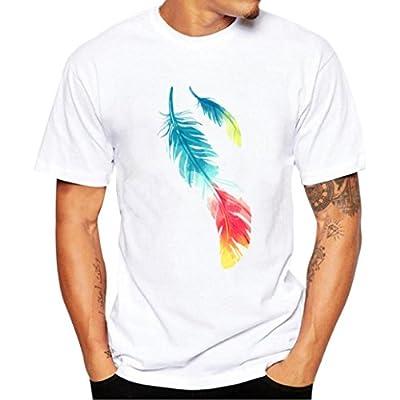 Hanaturu  tシャツ メンズ おしゃれ 爽やか色 羽カメラ自転車ネコ標識 カラフル 可愛プリント柄 着心地いい 夏最適 ファション 白 メンズプリントtシャツ 友達彼氏 プレゼント 5タイプ選べ S−4L 大きいサイズ  (XXXXL, ホワイト)