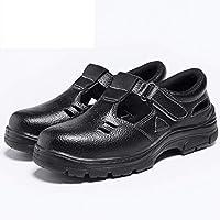 作業靴 保護靴、男性と女性のための安全靴、ロートップの作業ブーツ、鋼のつま先のスニーカー、牛革エンボス加工レザーの作業ブーツ、消臭通気性アンチスマッシングアンチピアス 安全靴 (Color : D, Size : 42)