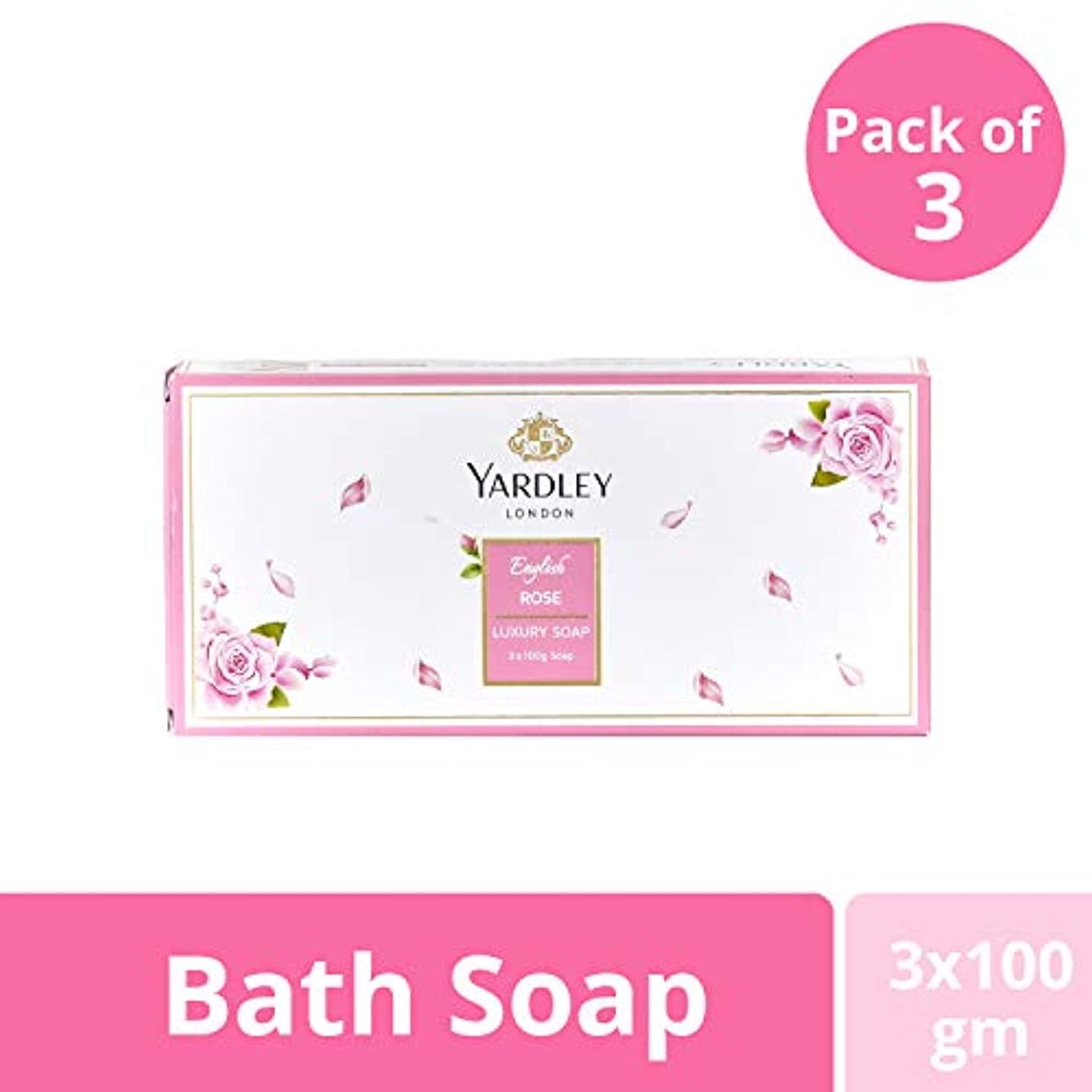 荒れ地背骨名目上のYardley London English Rose Luxury Soap Value Pack 3x100g