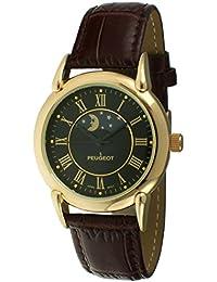 [プジョー] Peugeot 腕時計 Unisex Gold-Tone Case Sun Moon Watch with Brown Textured Leather Band 日本製クォーツ 3032BK 【並行輸入品】