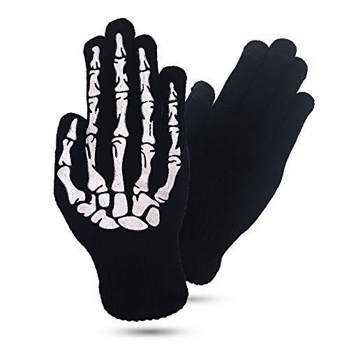 IUGGAN タッチパネル手袋スマホ手袋 ニット編み グローブ 防寒 タッチパネル 伸縮性保温 冬用夜光の機能を持っている男女兼用手袋 (保温タッチパネル手袋)