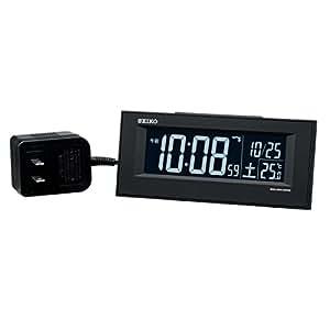 セイコー クロック 目覚まし時計 電波 交流式 デジタル 黒 DL209K SEIKO