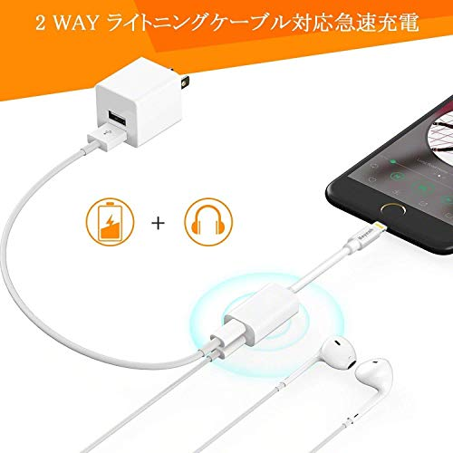 『iPhone 充電 イヤホン 同時 イヤホン・ヘッドフォンジャックアダプタ 高耐久 iPhone イヤホン 変換 通話可能 音楽調節 iPhone X/XR/XS/XS Max/8/8plus/7/7plus(IOS12対応) iphone Lightning2in1』の3枚目の画像