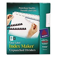 ave11432–インデックスメーカークリアラベルUnpunched Divider by Avery