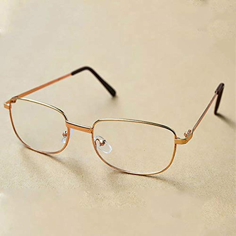 MENGJIA フルメタルフレーム樹脂レンズ老視メガネ老眼鏡+ 3.50D(ゴールド)YANG (色 : Gold)