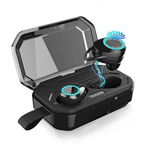 2019最新版 Bluetooth イヤホン ワイヤレス イヤホン Bluetooth5.0 EDR搭載 3Dステレオサウンド/ 携帯へ給電可能 / 130時間連続駆動/ IPX7防水規格/ タッチ式/自動ペアリング/Hi-Fi 高音質/音量調整/Siri対応 iPhone/iPad/Android適用