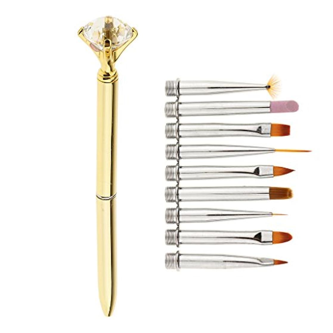 ペルメルのぞき見組み合わせPerfk 3色選べ ネイルアートブラシ 3D描画ペン ヘッド交換可能 アートツール サロン用 DIYスタイル 1セット - ゴールド