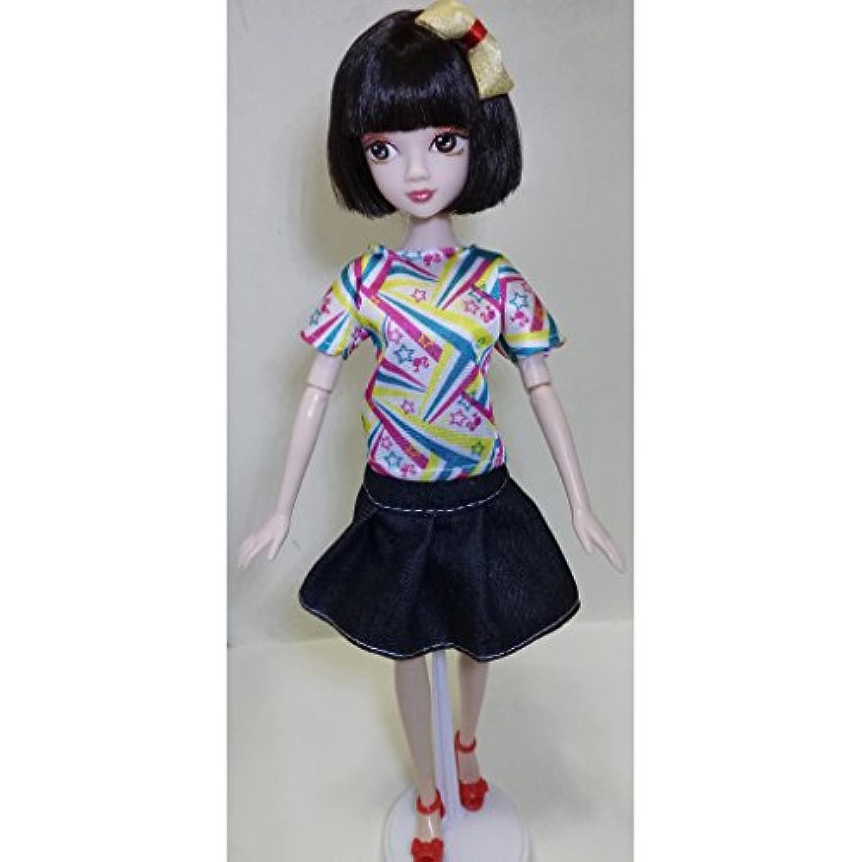 perfk 人形用ドレス 服 12インチバービードールのため 1/6スケール デニムスカート トップ スーツ