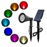 ILIKE 7LED ソーラーライト スポットライト ソーラー ガーデンライト パネル分離式 RGB多彩 マルチカラー 省エネ 屋外 防水 明暗センサー 玄関、芝生、階段、庭など対応 LED照明 ソーラー充電発電