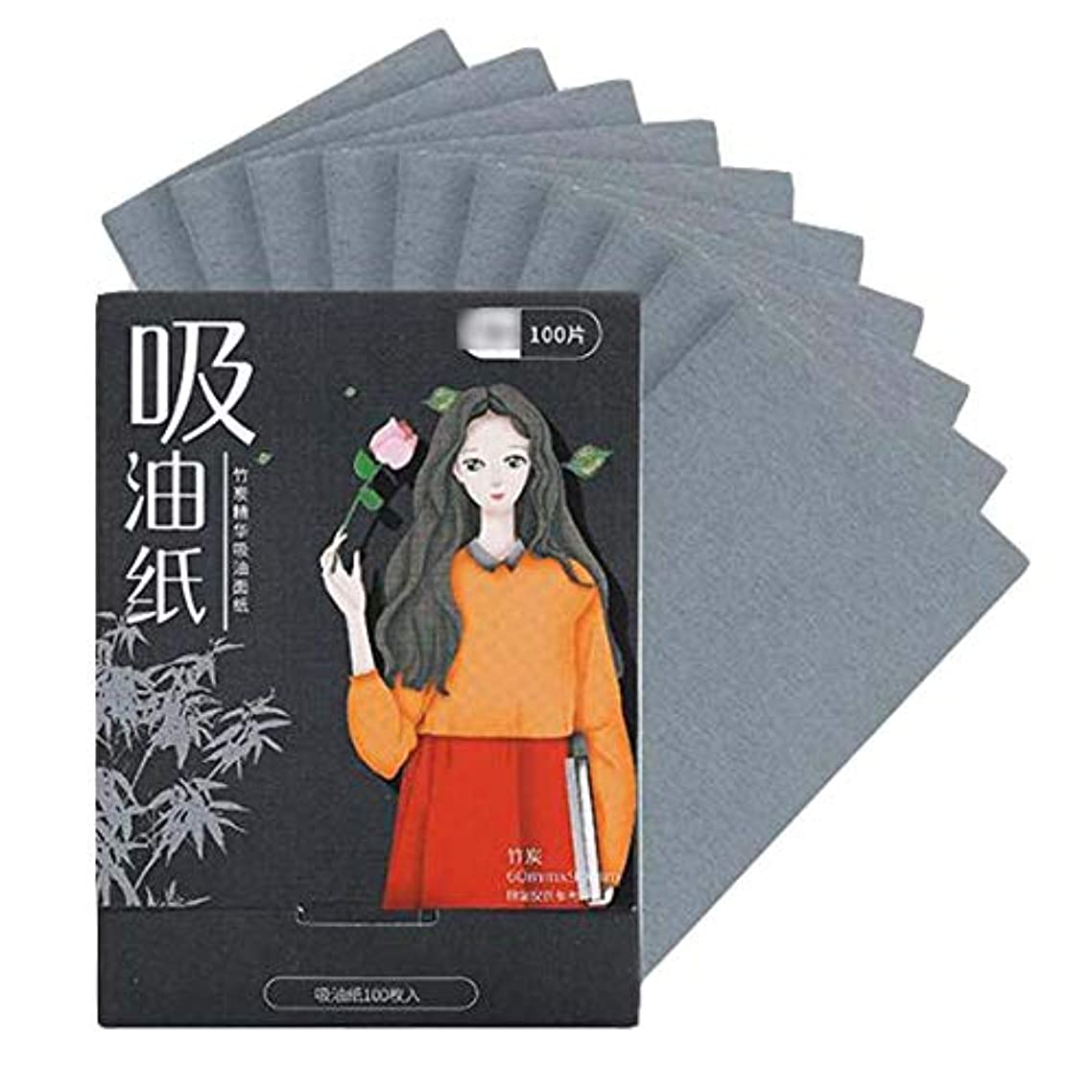 修正入学するしっとり顔のための女性竹炭あぶらとり紙、200個