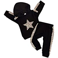 Happy Town Toddler Baby Girl Clothes Sets Long Sleeve Hooded Star Leopard Sweatshirt Top+Leopard Pants Set Fall Winter Outfit 6M-4T