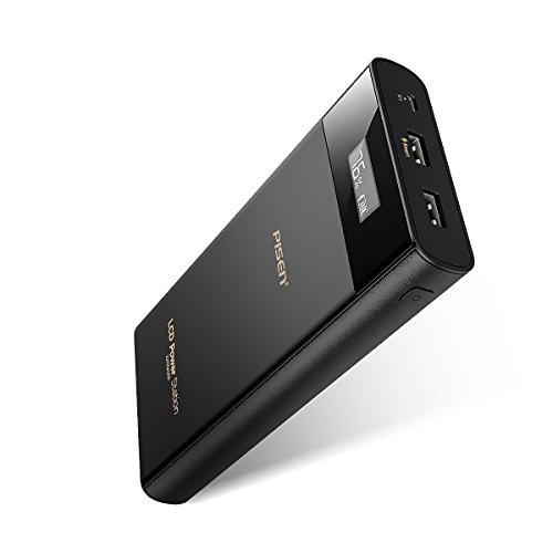 PISEN 20000mAh モバイルバッテリー 超大容量 持ち運び充電器 2USB出力ポート スマホ急速充電器LCD残量表示 汚れにくい 防災 iPhone / Android / iPad /iPod / Sonyなど対応 (ブラック)