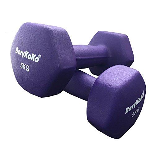 【BeryKoKo】 筋トレ フィットネス シェイプアップ カラーダンベル シリーズ (5kg×2個セット(パープル)) 【正規品/12ヶ月保証】