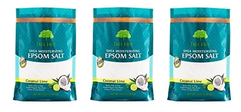 顔料放牧するランドリーツリーHut SheaモイスチャライジングEpsom Salt 3Pack (Coconut Lime)