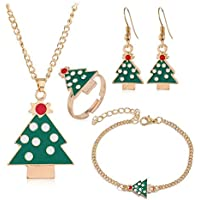 The Electric Mammoth Women's 4 Piece Christmas Jewelry Sets - Includes Earrings, Necklace, Bracelet and Ring