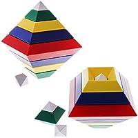 Perfeclan 約30個 創造性 ブロック玩具 幾何学 マルチピラミッドタワー 木製ブロック キッズおもちゃ