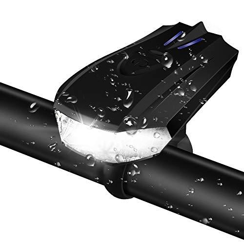 【新世代のスマート自転車用ライト】 Maexus 自転車ヘッドライト USB充電式 5つ点灯モード IPX6防水 無段階自動感光 振動センサー付き サイクリング・登山・防災用