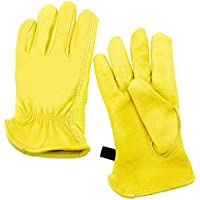M Size Protective Grain Cowhide Leather Work Gloves Men Women for Yard Work/Gardening/Farm/Warehouse/Construction/Motorcycle